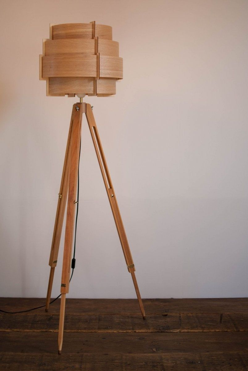 Tripod Floor Lamp Tripod Retro 60 70s Design Veneer Wood