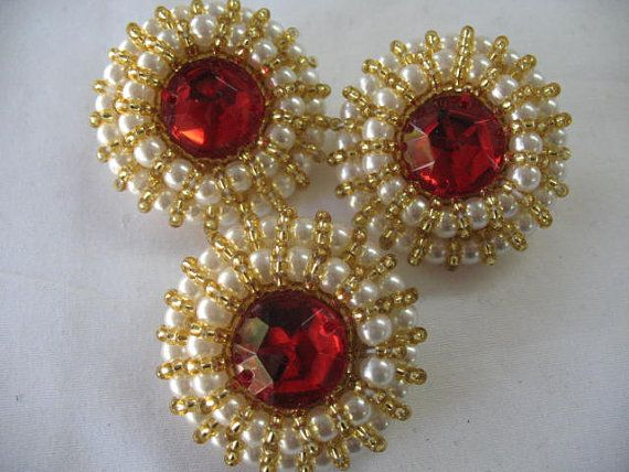 3 VINTAGE PEARL BUTTON with Gold Beads and red stone by Toide, $9.00