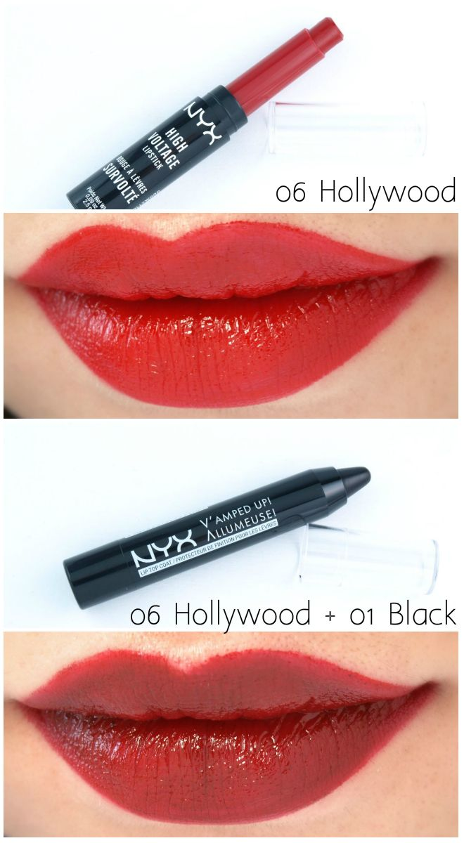 """NYX High Voltage Lipstick In """"06 Hollywood"""" & V'amped Up"""