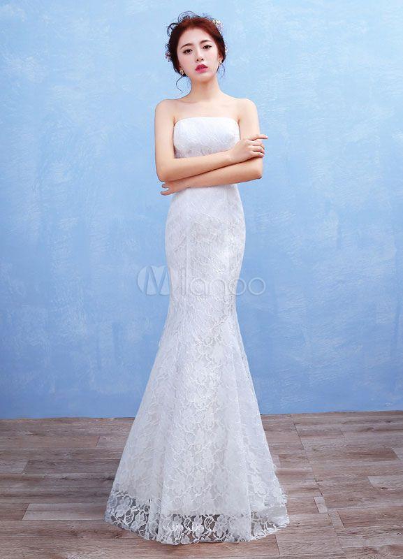 Meerjungfrau Boho Kleid Lace Maxi trägerlosen Brautkleid weiß ...