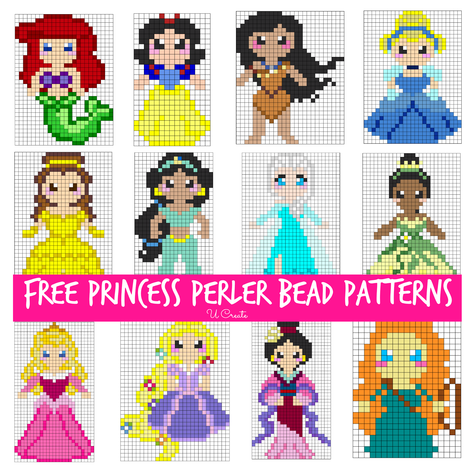 Free Disney Princess Perler Bead Patterns for Kids!