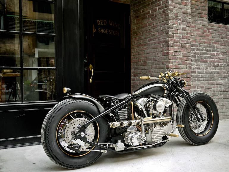 Vintage racers harley knucklehead by rough crafts zero for Garajes vintage