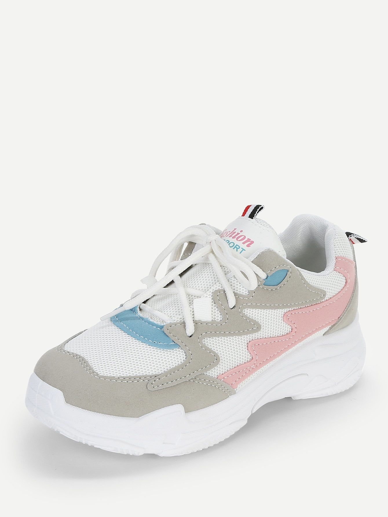 32405575618f Sporty Multicolor Chunky Lace Up Chunky Sole Trainers in 2019