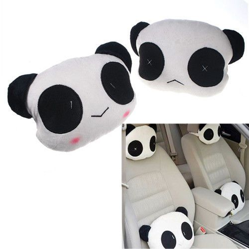 2pcs-Cute-Panda-Vehicle-Neck-Rest-Headrest-Cushion-Protecter-Car-Travel-Pillow