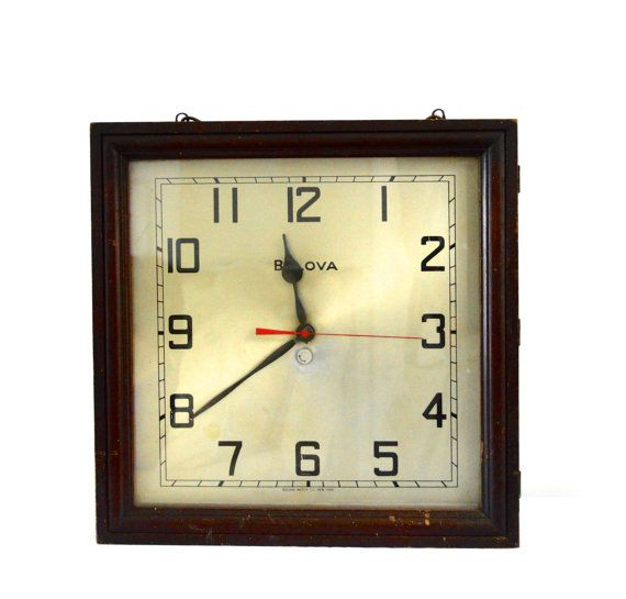 Large 1930 S Bulova St1 Wall Clock Bulova Watch By Stylehousedc Wall Clock Glass Hinges Clock