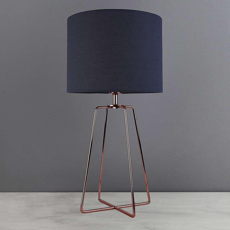 Dunelm Hester Wire Minimalistic Plain Copper Orange Table Lamp Base