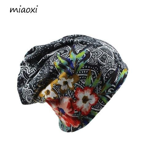 5ad37f9a330 miaoxi New Women Hat Polyester Adult Casual Floral Women s Hats Spring  Autumn Two Used Female Cap Scarf 3 Colors Fashion Beanies