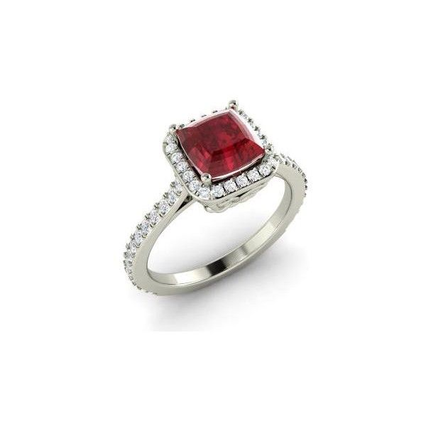 Diamondere Asscher-Cut Ruby VS Diamond 14k White Gold Halo Ring (7.175 BRL) ❤ liked on Polyvore featuring jewelry, rings, 14k ruby ring, round diamond engagement rings, 14k white gold ring, white gold engagement rings and ruby ring