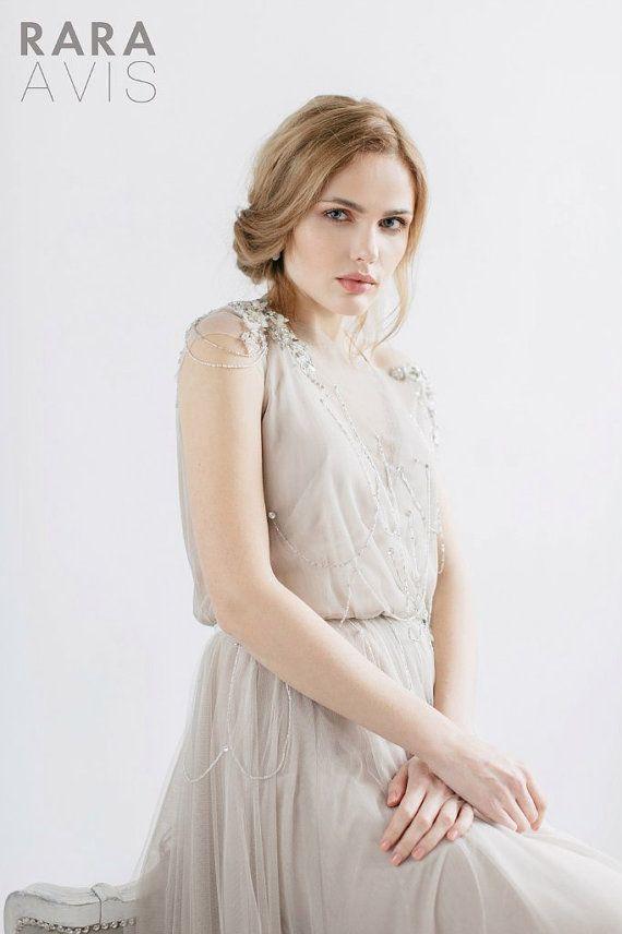 Hochzeitskleid IVANEL, Braut, Strand Hochzeitskleid, grau mit Pulver ...