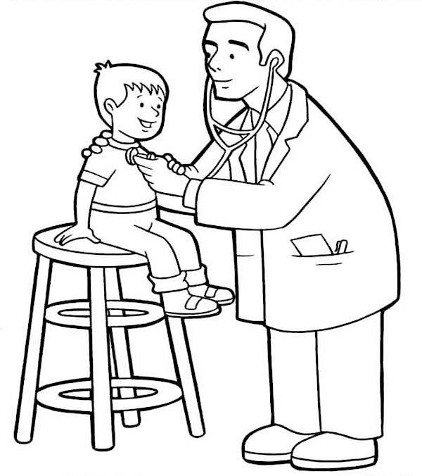 Line Drawing Of A Doctor : Doctor checked at little kid condition coloring page
