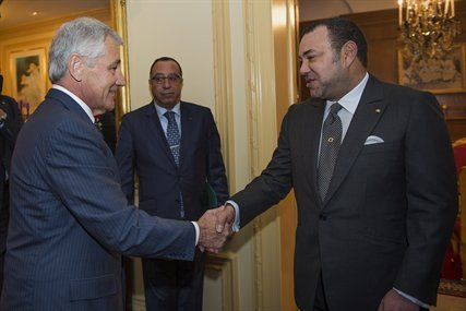 U.S. Defense Secretary Chuck Hagel meets with King Mohammed VI of Morocco at the Morocco Ambassadors residence in Maryland, Nov. 20, 2013