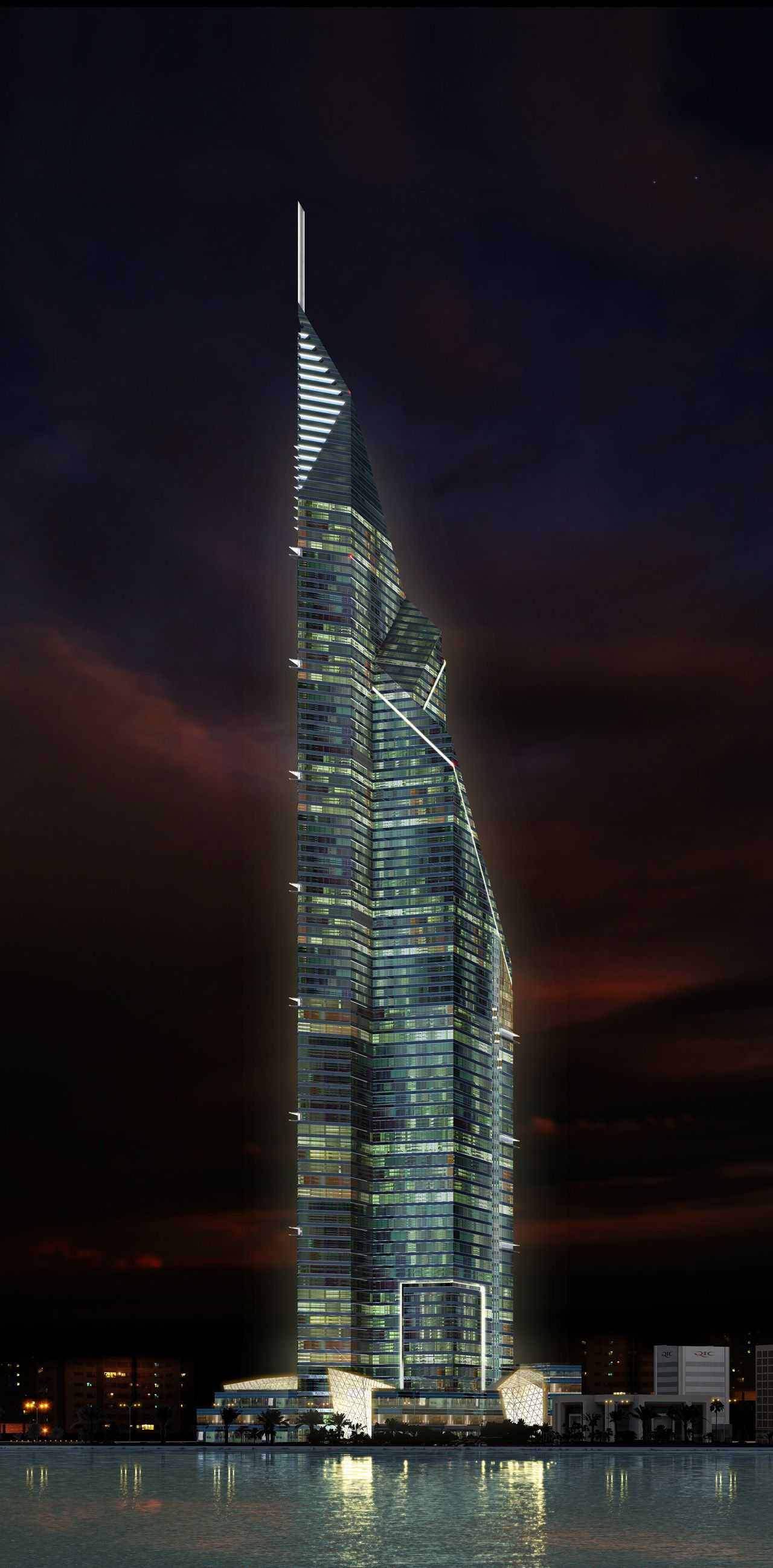 And 6 lusail katara hotel doha qatar pictures to pin on pinterest - Dubai Towers Doha Qatar By Rmjm Architects 84 Floors Height 445m
