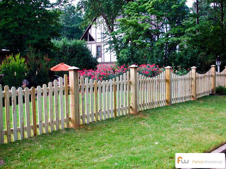 The Finley Scalloped Wood Picket Fence Pictures Amp Per Foot Pricing Fence Ideas Wood