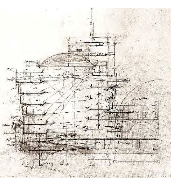 Section drawing solomon r guggenheim museum nyc 1959 - Architecture organique frank lloyd wright ...