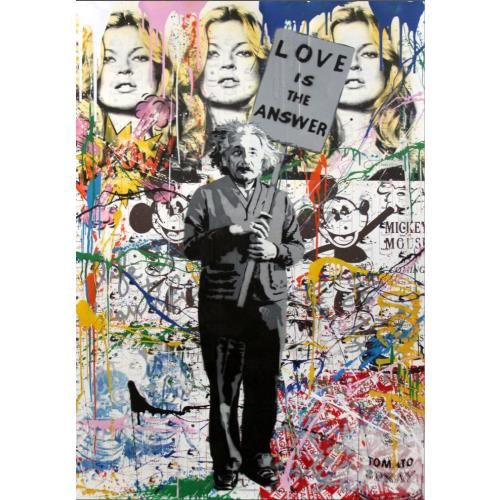 MR. BRAINWASH - LOVE IS THE ANSWER - EINSTEIN - POP ART GALERIE FLUEGEL RONCAK NUREMBERG