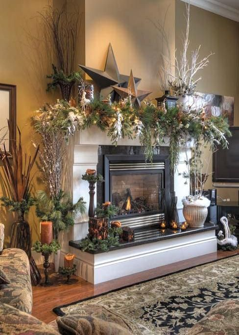black hearth and tile surrounding fireplace Christmas ideas