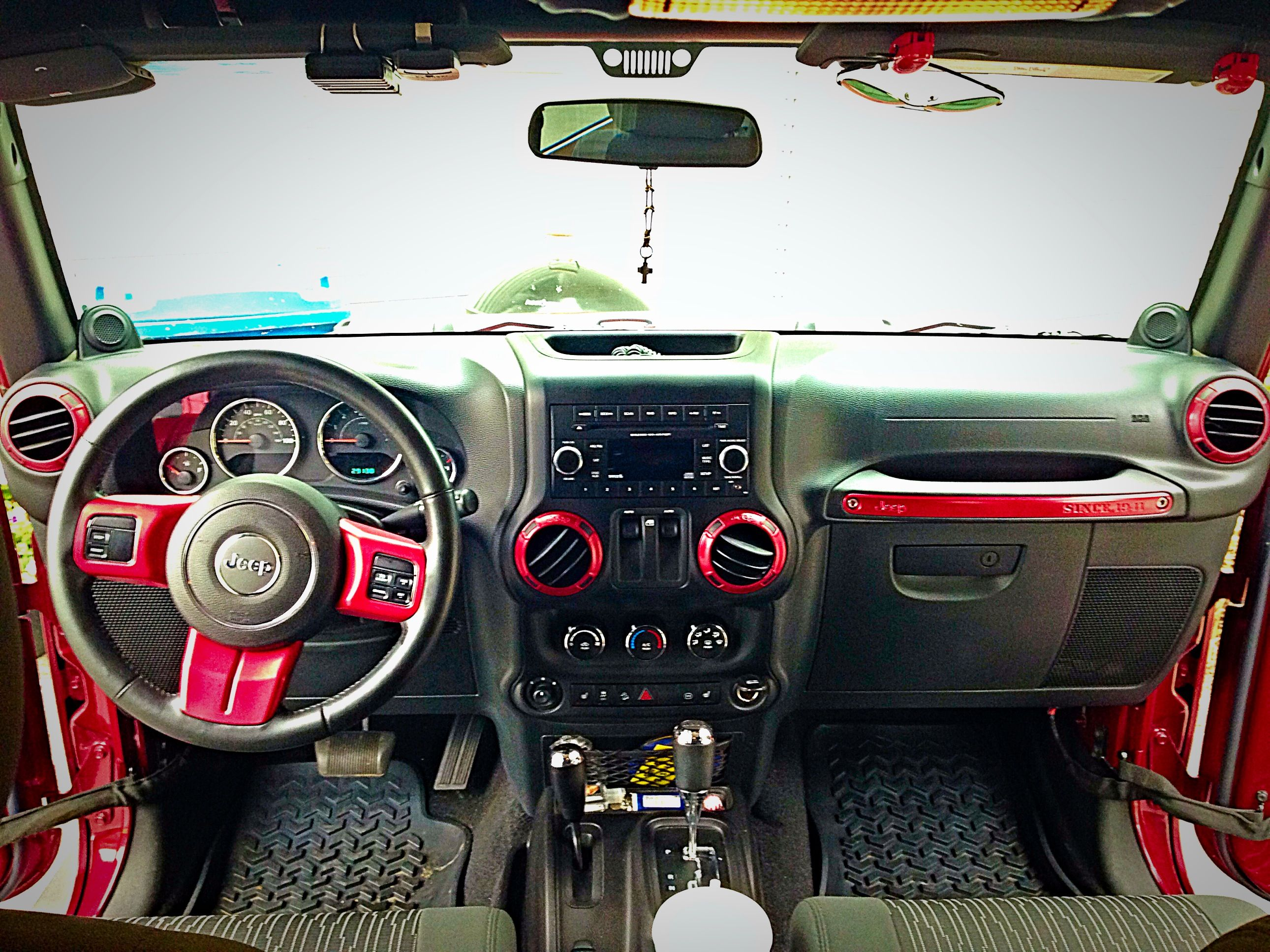 Diy Red Accents For Jeep Wrangler Find Your Mopar Paint At Quadratec Com And Rugged Ridge Steering Wheel Trim At Jeep Wrangler Diy Red Jeep Red Jeep Wrangler