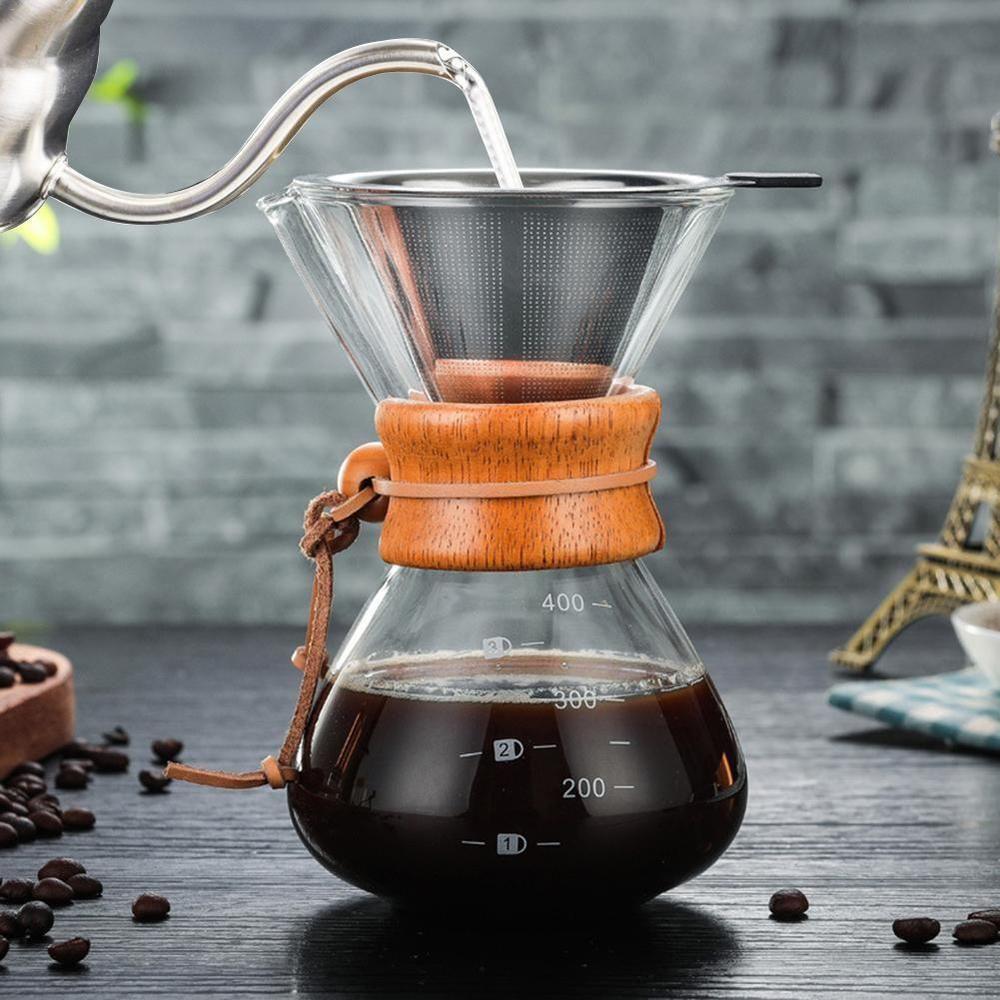 Classic glass hand drip coffee maker pot chemex style pour