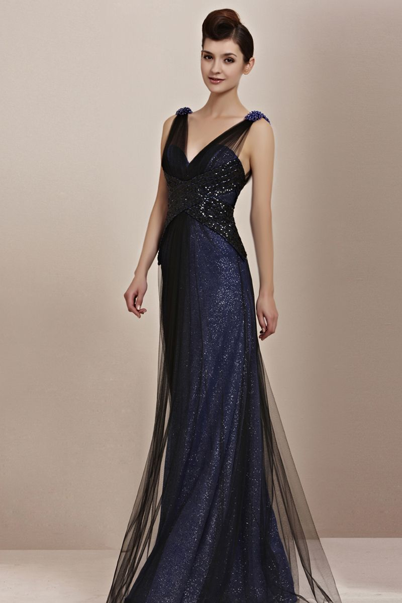 Blue sparkle evening dress