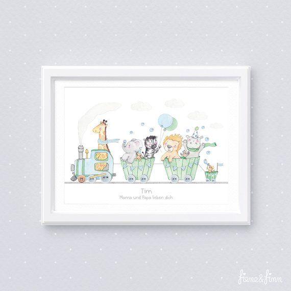 """Kinderzimmer Bild """"Tierzug"""" Kinderbild Poster Bilder"""