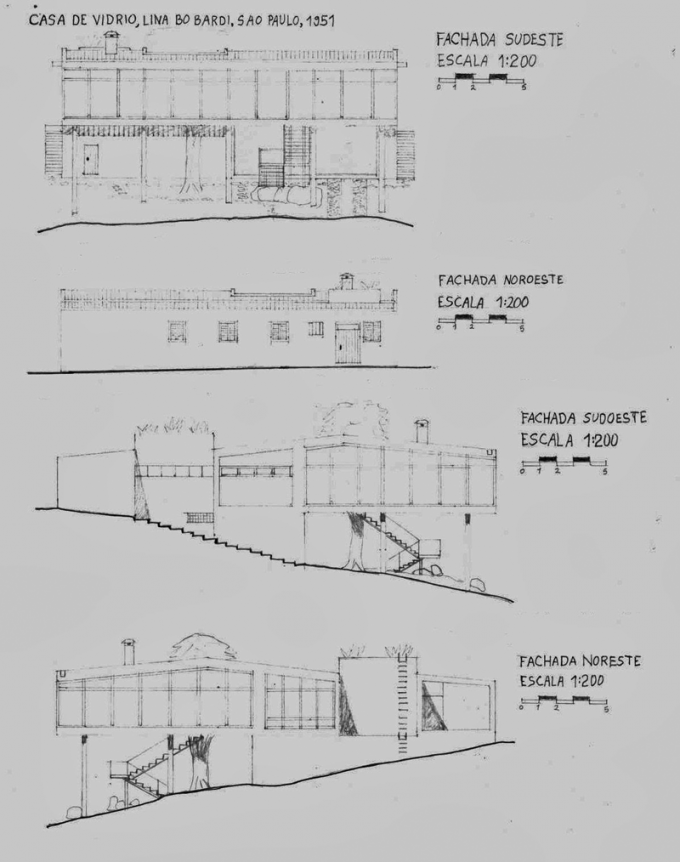 elevations house of glass by lina bo bardi s o paulo 1949 1951 architecture pinterest. Black Bedroom Furniture Sets. Home Design Ideas