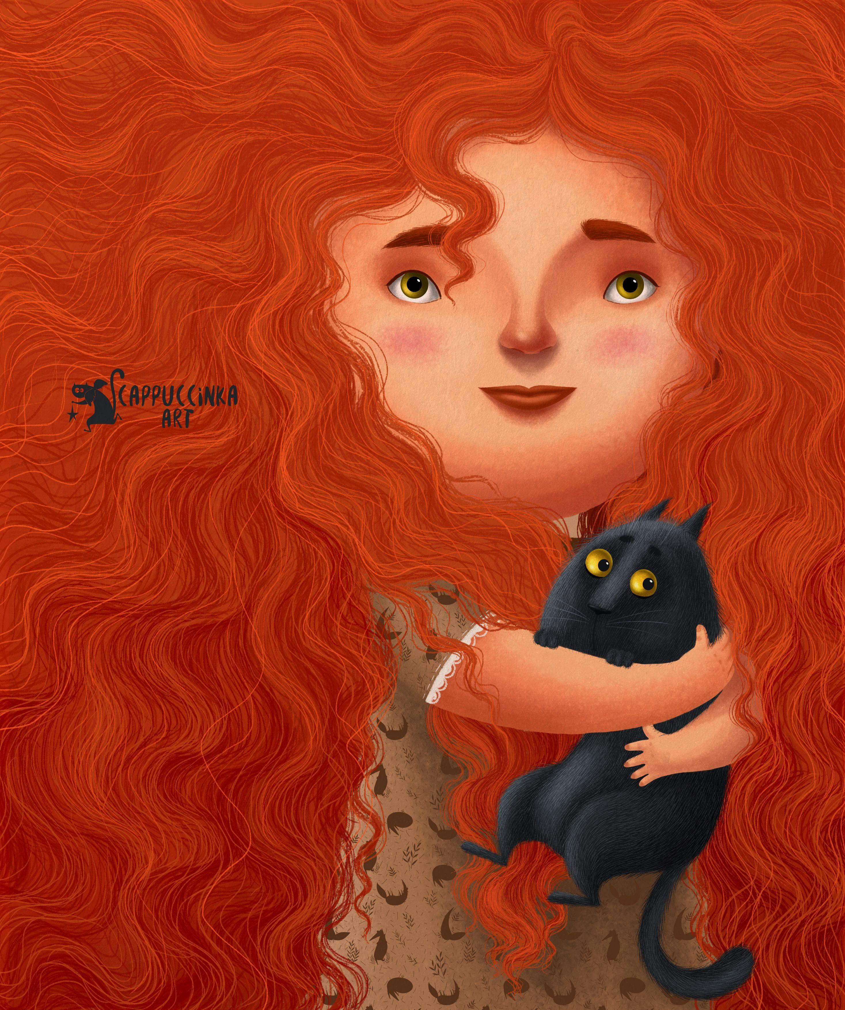 Рыжая девушка котом