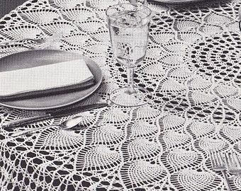 Round Tablecloth Crochet Pattern - PDF Instant Download - Pineapple