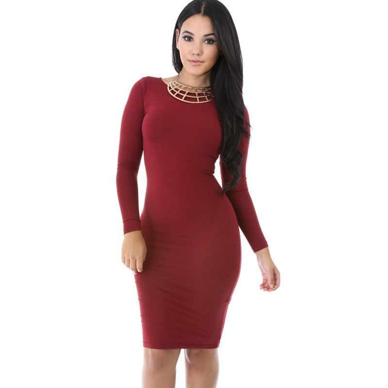 e7fafa6e06 21 Colors Plus Size Women casual Bodycon Knee length Pencil Dress long  sleeve sexy club Dress elegant party dresses