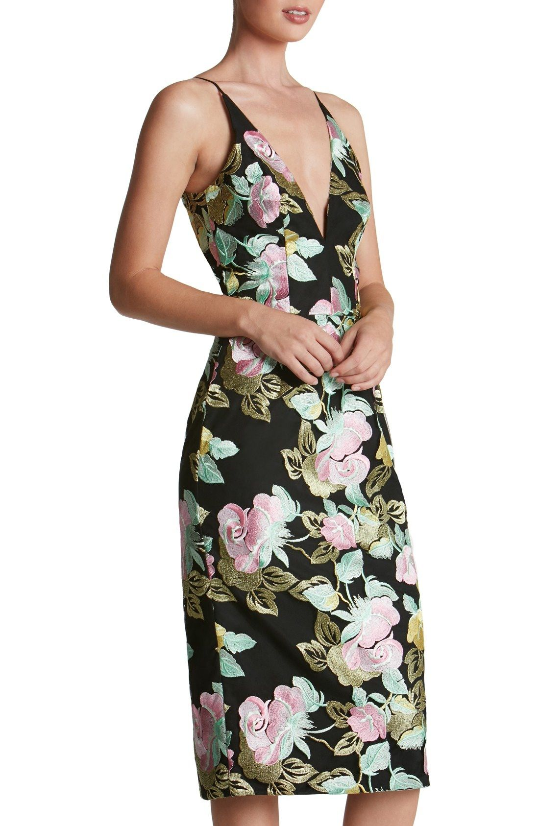 Dress The Population Mariah Embroidered Sheath Dress Nordstrom Dresses Dress The Population Night Out Dress [ 1687 x 1100 Pixel ]