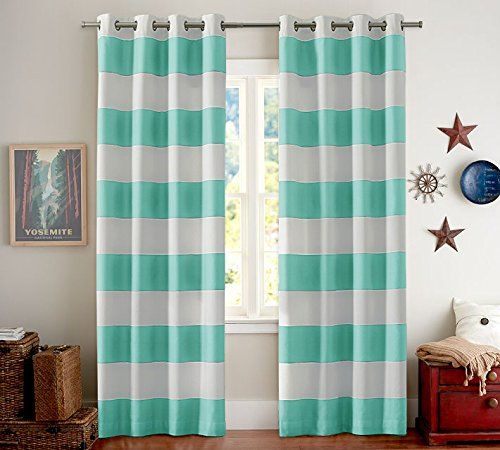 Turquoize Nautical Blackout Curtains 2 Panels Room Darkning Grommet Top Light Blocking Curtains 52w By 63l Inch Wave Curtains White Paneling Striped Room