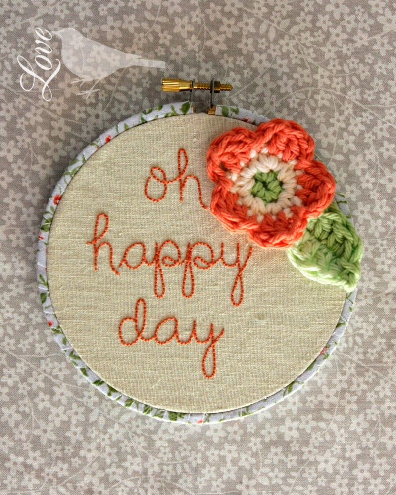 Hoop art embroidery crochet and a fabric wrapped