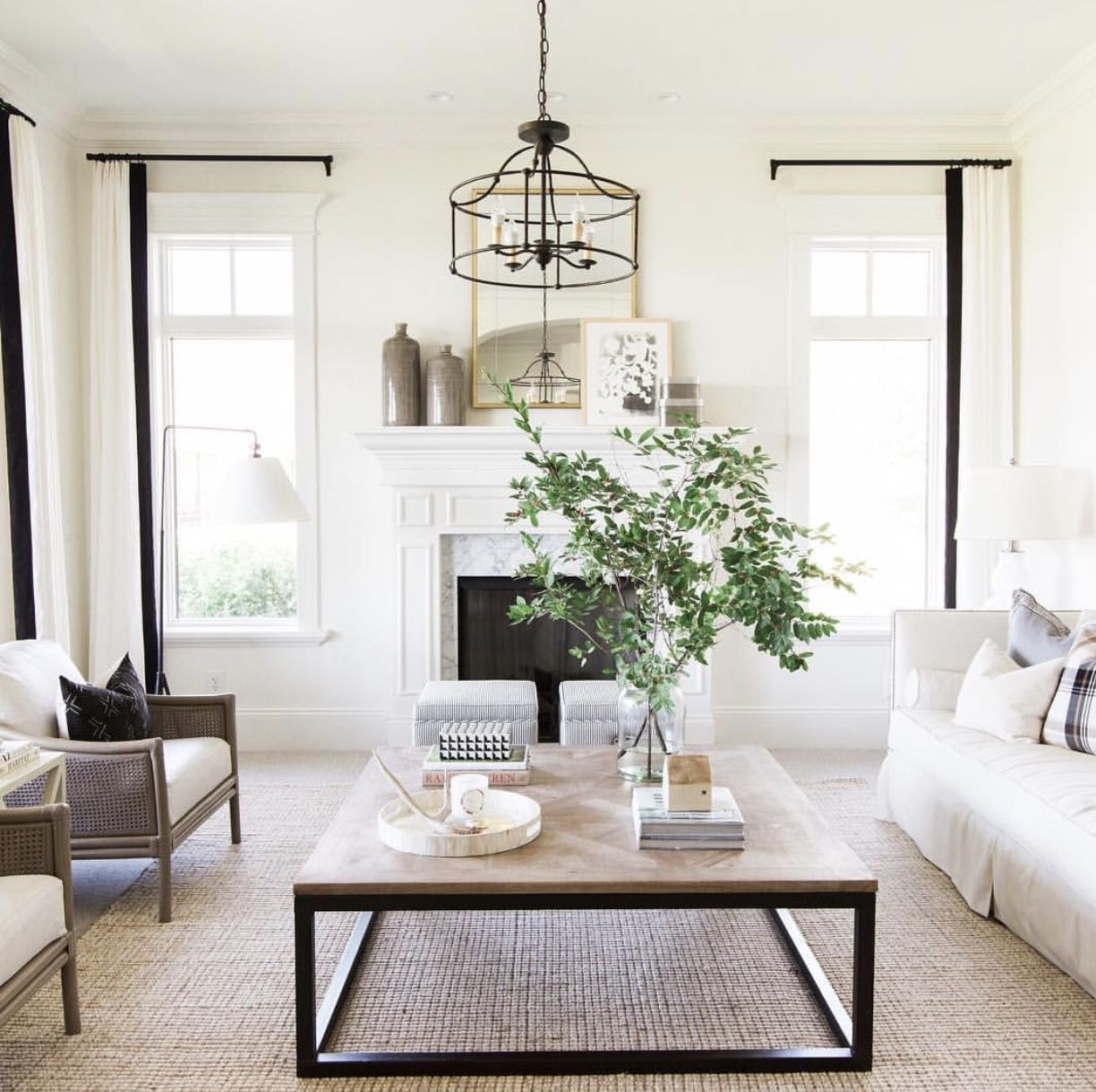 Window Trim Details White Curtains With Black Wood Square Coffee Table