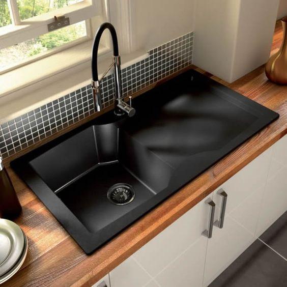 Image result for site:pinterest.com  black kitchen sink