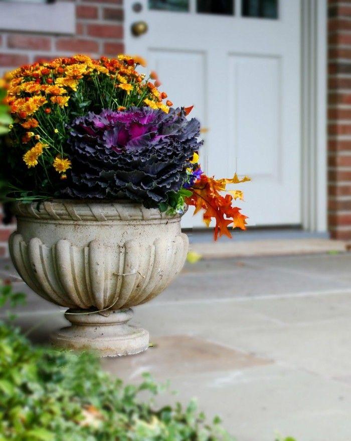 Gartenideen Herbst Deko Herbstblumen Eingang Dekorieren