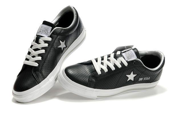 Black Converse One Star Silver Star Laces Ventilate Low Top