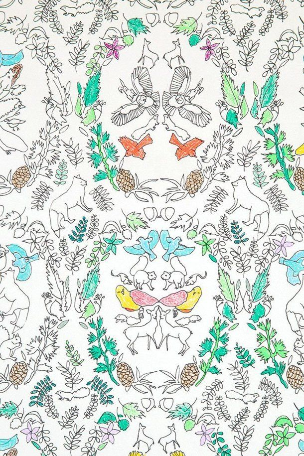 Design Guide Coloring Book Wallpapers For Your Inner Child Book Wallpaper Coloring Books Woodland Wallpaper