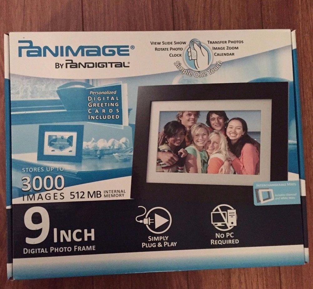 Panimage 9 Led Digital Photo Frame Pandigital Nib 3000 Images 512mb