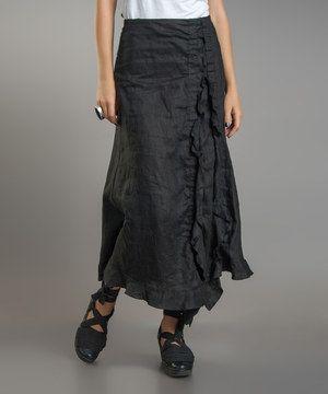 Black Ruffle Linen Maxi Skirt by Yuvita #zulily #zulilyfinds