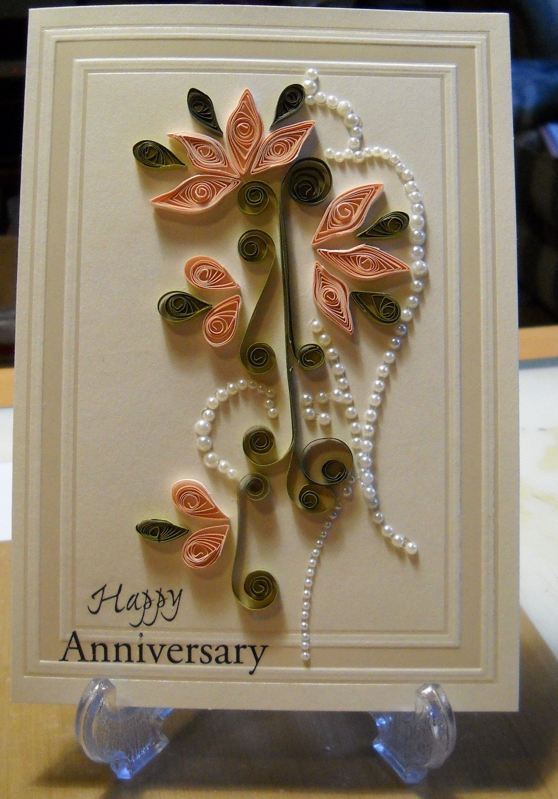 Searchwords: Quilled anniversary card. Made by Justme022746 from scrapbook.com