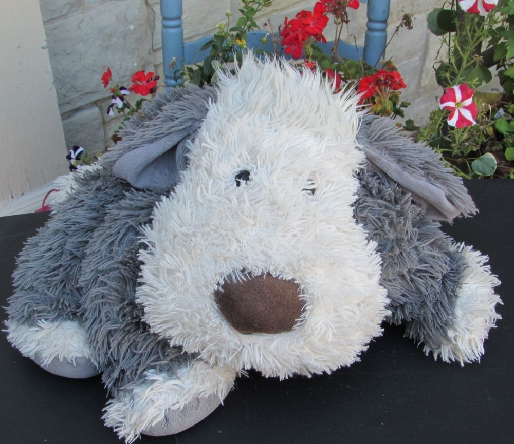"Jellycat Chaucer Truffles Shaggy Gray White Dog Plush Pillow Toy 18""x26"" Stuffed #Jellycat"