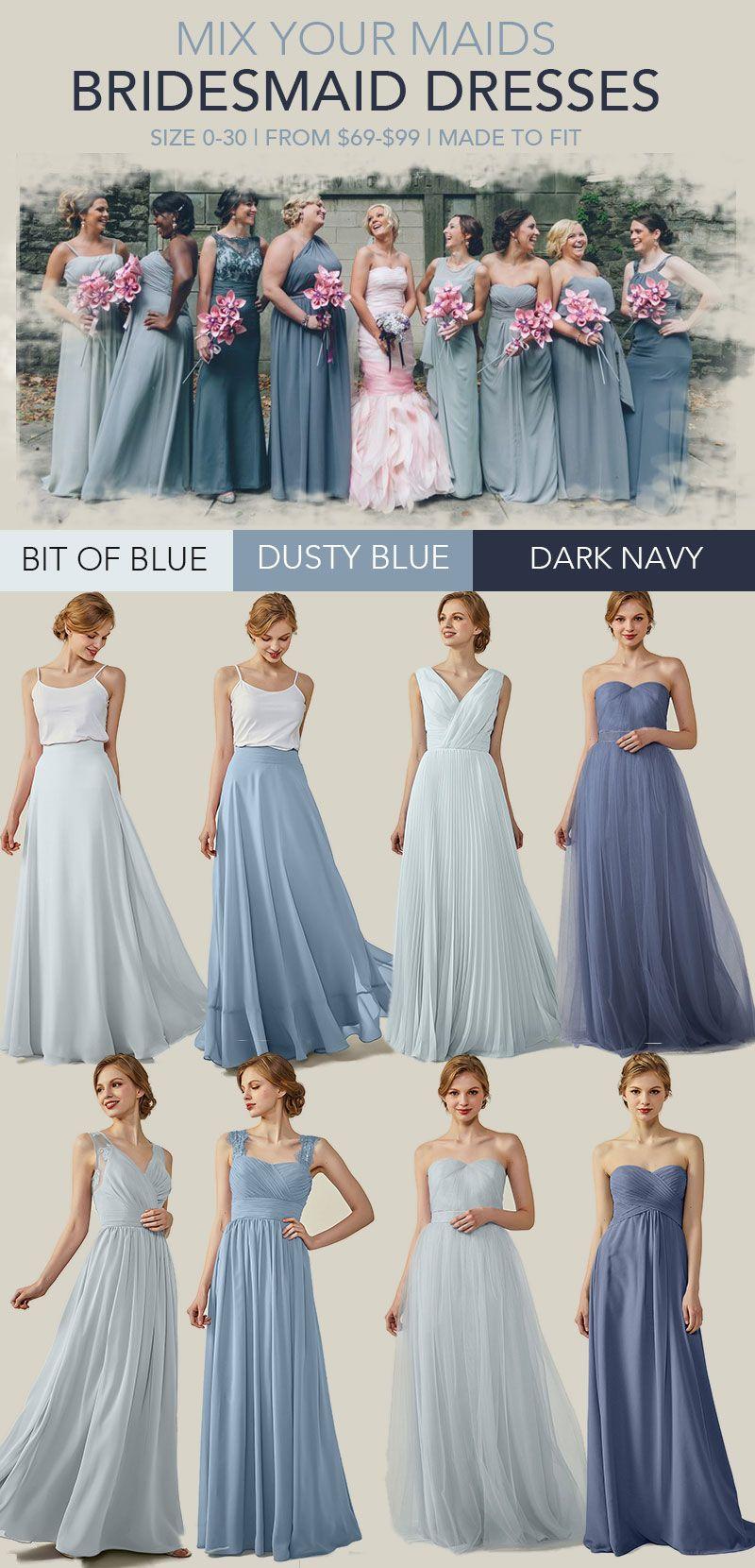 2018 Unique Chiffon Bridesmaid Dress Ombre Blue V Neck Dress Strap Dre Unique Bridesmaid Dresses Bridesmaid Dresses Long Chiffon Bridesmaid Dress Color Schemes