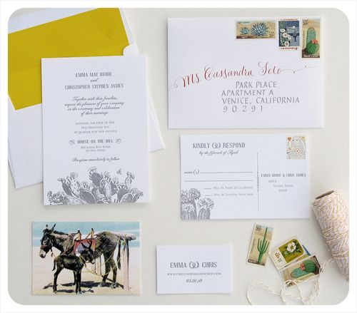 calligraphy, letterpress printing, and vintage stamps —southwestern cactus-inspired wedding invitations