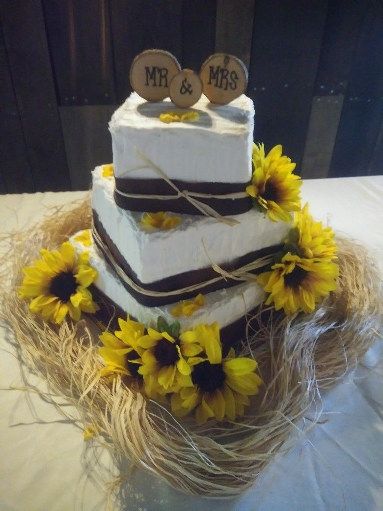 Rustic Sunflower 3 tier Wedding Cake Sunflower themed