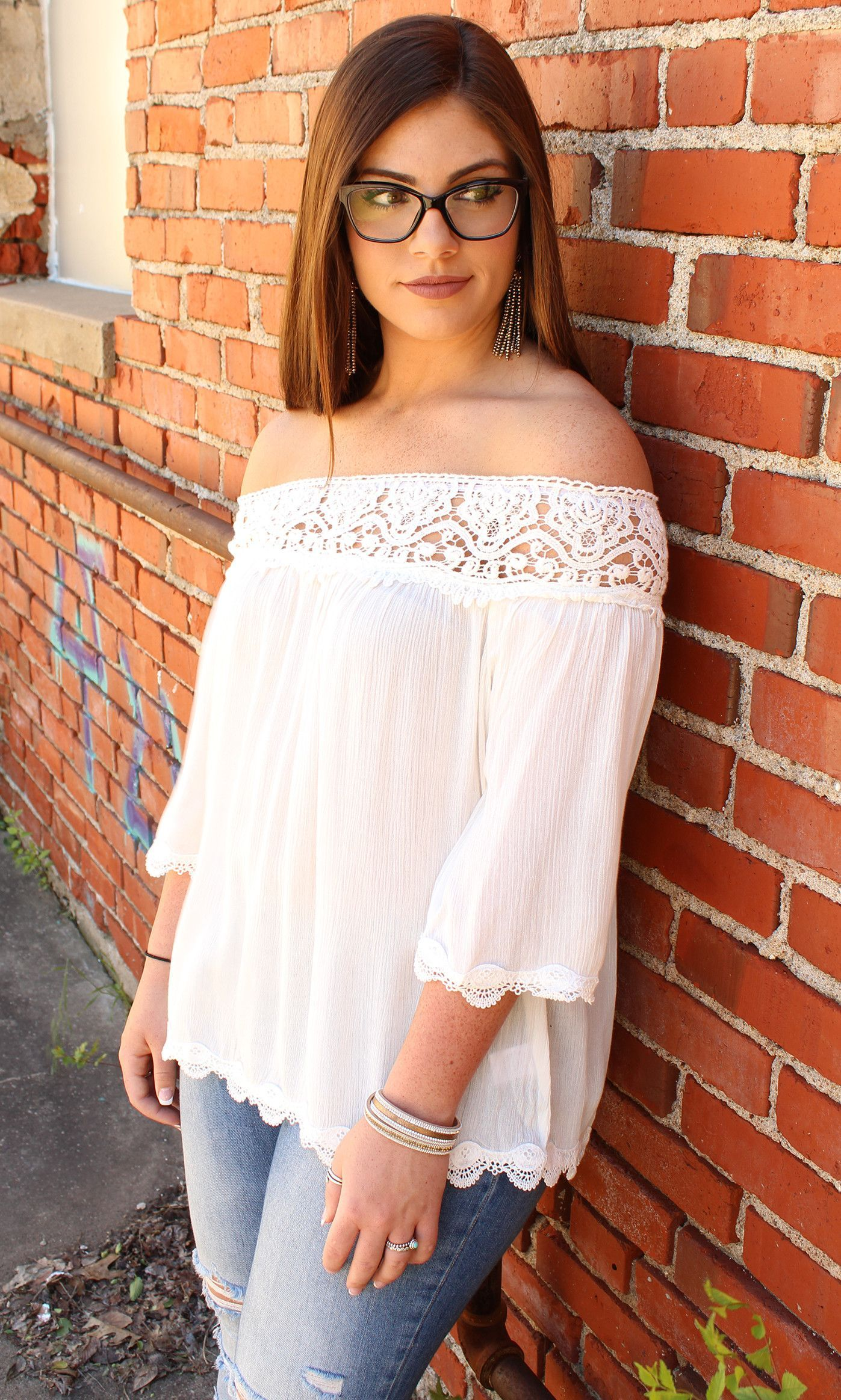 Guilty As Can Be - White Off Shoulder Top