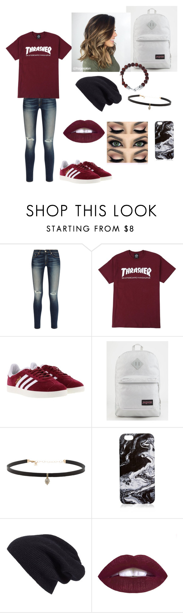 """Skateboarding with bae and friends"" by shareen-akmal ❤ liked on Polyvore featuring rag & bone, adidas, JanSport, Carbon & Hyde, Tiffany & Co. and Halogen"