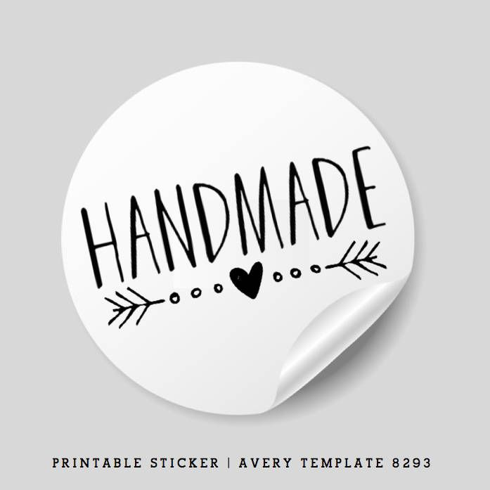 Printable Handmade Stickers 1 5 Inch Round Avery Template 8293 Pretty Packaging Ideas By Realmakersclub On Etsy