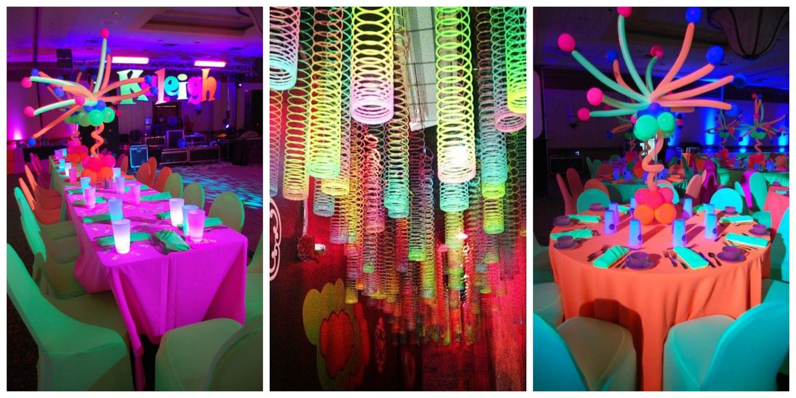 Neon Party Ideas Para La Decoracion Outfit Y Accesorios Fiesta Neon Decoracion Salones De Fiesta Decoracion Fiesta Neon