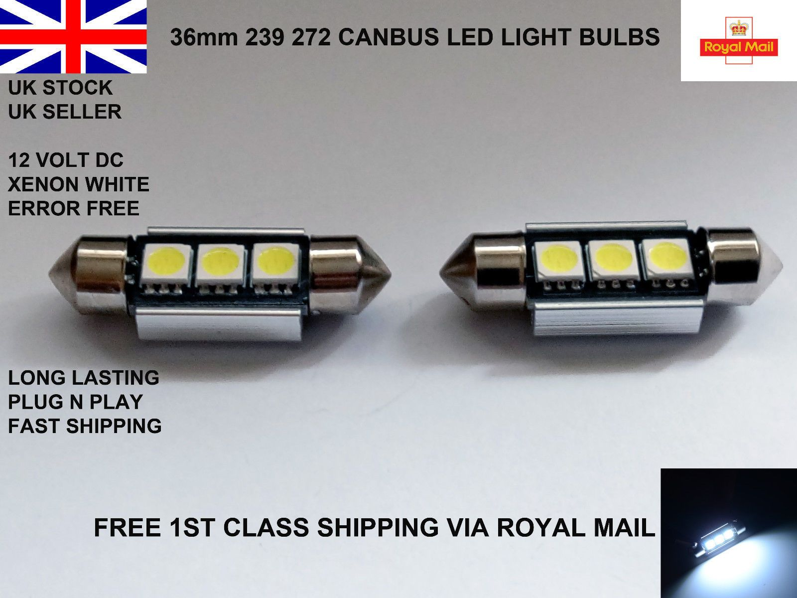 2 X 36mm Festoon 3 Led Smd Number Plate Light Bulbs Lamps Canbus Error Free 12v Light Bulb Lamp Roof Light Number Plate