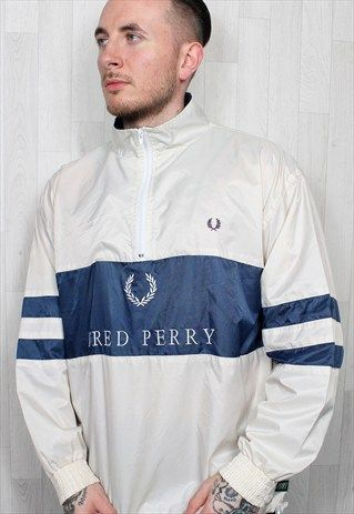 sports shoes fc801 0e1bc Vintage 90s Fred Perry Cream Big Logo Half Zip Jacket Top