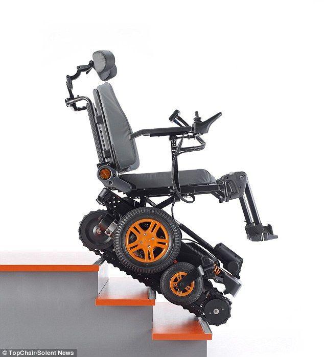 Wheelchair with 'tank-like' tracks can climb flight of